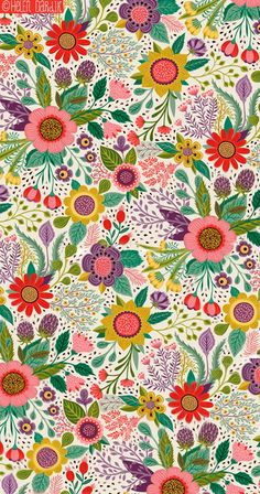 Ideas for cool wallpaper iphone vintage unique floral patterns Deco Floral, Motif Floral, Floral Prints, Vintage Floral, Botanical Prints, Pretty Patterns, Beautiful Patterns, Flower Patterns, Art Et Illustration