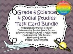 Ontario Grade 6 Social Studies and Science Task Card Bundle Grade 3 Science, Primary Science, Middle School Science, Physical Science, Science Classroom, Earth Science, Classroom Ideas, Science Lesson Plans, Science Resources
