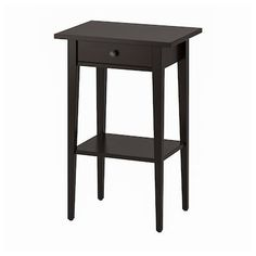 IKEA - HEMNES, Bedside table, black-brown, Smooth running drawer with pull-out stop. Made of solid wood, which is a hardwearing and warm natural material. Combines with other furniture in the HEMNES series. Ikea White Side Table, Ikea Lack Side Table, Ikea Lack Coffee Table, Black Side Table, Narrow Side Table, Ikea Hemnes Drawers, Ikea Hemnes Nightstand, Black Nightstand, Nightstands