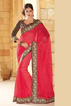 Red Net Party Wear Saree