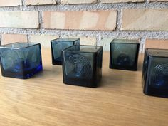 Per Lutken  5 Skjold candle holders blue glass from by Qvirky