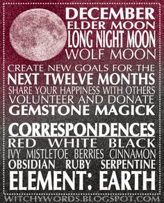 December Full Moon Esbat: Colors, Herbs and Stone Correspondences. #fullmoon #wicca #pagan