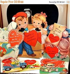 MAY SALE Valentine Cards Vintage Red Valentine Cards 1950