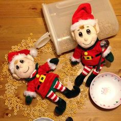 Day 15: this pesky pair must have been missing all of the snow from the North Pole. They've been busying themselves making cheerio angels!