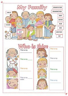 My family Language: English Level/group: Grade Pre-school. Elementary School subject: English as a Second Language (ESL) Main content: The family Other contents: family members English Worksheets For Kids, English Lessons For Kids, Kids English, English Activities, Preschool Worksheets, Learn English, Preschool Activities, Preschool Family Theme, Grammar Worksheets
