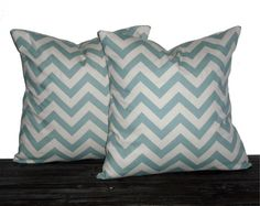 "18"" Decorative Pillows Seafoam and Natural Chevron- 18 x 18 inch square - TWO PILLOW COVERS. $26.00, via Etsy."
