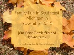 Family Fun in Southeast Michigan in November 2015 - LOTS of plays, parades and the start of Christmas cheer!