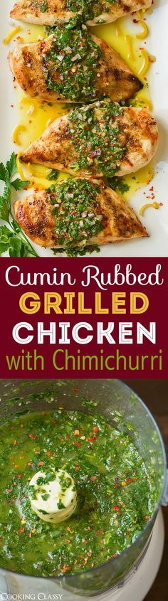 Cumin Rubbed Grilled Chicken with Chimichurri Sauce - this is one of my ALL TIME…
