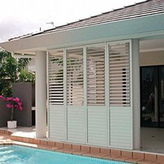 Want aluminium shutters at affordable prices? Our aluminium Window Shutters come with best price guarantee. Come see us at our showroom in Melbourne. Modern Shutters, Types Of Shutters, Outdoor Shutters, Interior Shutters, Outdoor Privacy, Interior And Exterior Angles, Interior Doors For Sale, Interior Rendering, Outdoor Rooms