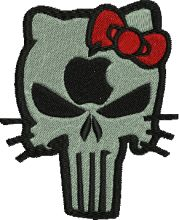 Apple Punisher Kitty Embroidery Design