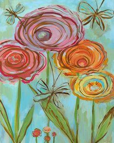Lollipop Flowers Canvas Reproduction
