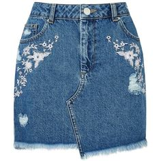 Miss Selfridge PETITE Embroidered Skirt (33 CHF) ❤ liked on Polyvore featuring skirts, bottoms, saias, denim, petite, embroidered skirt, petite skirts, miss selfridge, blue skirts and miss selfridge skirts