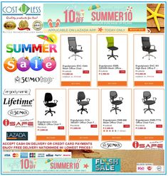Enjoy the Summer with Lazada Shop Online - Summer Sale!  Get 10% Off  with a Minimum Purchase of 2,000.00 to our OFFICE CHAIRS using Voucher Code:SUMMER10 Applicable on LAZADA APP! Promo is Today Only! Free Delivery Anywhere in Philippines! Credit Card Payments Accepted! Cash On Delivery! http://www.lazada.com.ph/catalog/?q=office+chair+cost+u+less