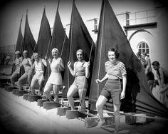 nautical photo SAILOR GIRLS 8x10 art sailing sailboat babes B and W coastal decor print 1930s beach lover gift Nostalgia