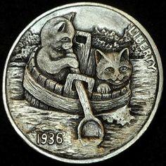 HOWARD THOMAS HOBO NICKEL - CRUISING DOWN THE RIVER - 1936 BUFFALO NICKEL