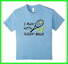 Kids Novelty Tennis T-shirt ~ I Play With Fuzzy Balls 6 Baby Blue - Sports shirts (*Amazon Partner-Link)