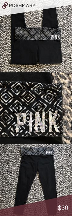 VS PINK yoga pants sequin black leggings cropped This is a cute pair of Victoria's Secret PINK yoga pants with a fun, metallic patterned fold over waistband and the word PINK in sparkly sequins. This pair of pants is on good, pre-loved condition with some normal wash wear, but no major signs of wear. These pants are size large and are a stretchy, comfy material. PINK Victoria's Secret Pants Leggings