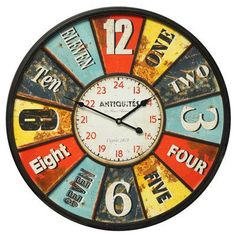 Give an edge to your interiors by getting home the Uttermost Vintage Oversized License Plates Wall Clock. Rustic and rough, this clock is a perfect accent piece for any space. The circular clock is huge in size and looks lovely on a plain, undecorated wall. A great piece for your dining space or bedroom too, this clock is worth keeping for years to come.<br/><br/>The License Plates Wall Clock is an antique looking piece made with medium-density fiberboard for a strong an...