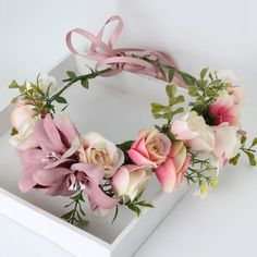 Vintagey dusty rose, pink and ivory shades! Fairy flower crown perfect for fairy, whimsy or princess photoshoots!