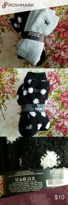 VS PINK Fuzzy Socks DOG LOGO Two Pair Soft, thick, and cuddly Victoria's Secret pink collection socks.  1. Black and white polka dots 2. Pale mint green solid color PINK Victoria's Secret Accessories Hosiery & Socks