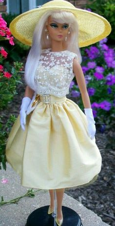 Yellow hat as nd dress for Dilkstone BArbie Doll