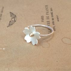 Sterling silver and 18ct gold cherry blossom stacker ring rom my Etsy shop https://www.etsy.com/uk/listing/258160800/sterling-silver-and-18ct-gold-mid-size