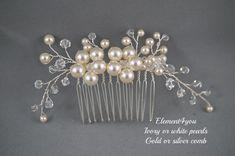 Nupcial peine pedazo del pelo de perlas de Marfil por Element4you