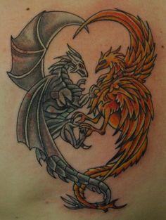 My own dragon and phoenix tattoo,