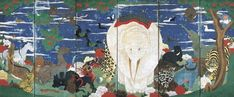 """""""Birds, Animals and Flowering Plants, Mosaic Screens"""" (left side) by Japanese artist, Ito Jakuchu."""