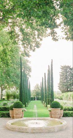 French Exterior, Mediterranean Garden, Sense Of Place, French Countryside, Water Garden, Topiary, Go Green, Hedges, Dream Garden