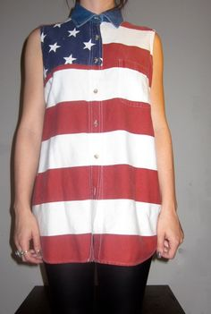 Vintage 90s AMERICAN Flag Sleeveless Button Down by ShredThreads, $54.00
