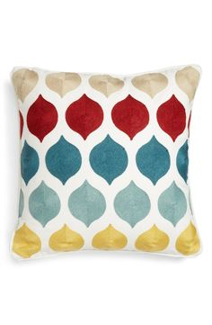 Vibrant stitching adds wonderful texture to this country-chic accent pillow plumped with lush feathers.
