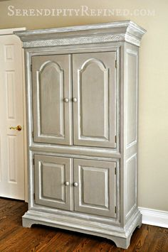 Serendipity Refined Blog: Reader Painted Furniture DIY Help #2: Maureen's Chalk Painted French Linen Armoire Cabinet
