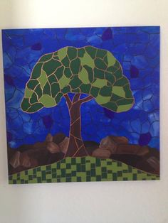 Art original painted stained glass summer tree
