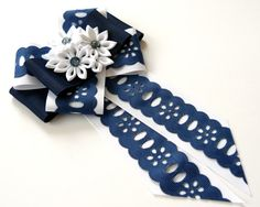 Ladies fabric pin brooch tie. Navy blue and white brooch by JuLVa