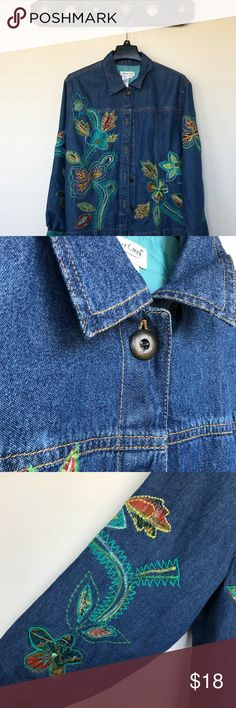 Coldwater Creek Oversize Embroidered Jean Shirt Coldwater Creek Embroidered Jean Shirt is perfect for layering! Has the vintagy touch to it and is oversize or you can wear it like a normal XL :) Coldwater Creek Jackets & Coats Jean Jackets