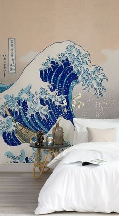 """Dreamy neutrals work in harmony with Hokusai's """"Great Wave."""" This art wallpaper showcases the world famous woodblock print by Japanese artist Hokusai. The clean lines of this wallpaper add definition and bring impact to your interiors."""