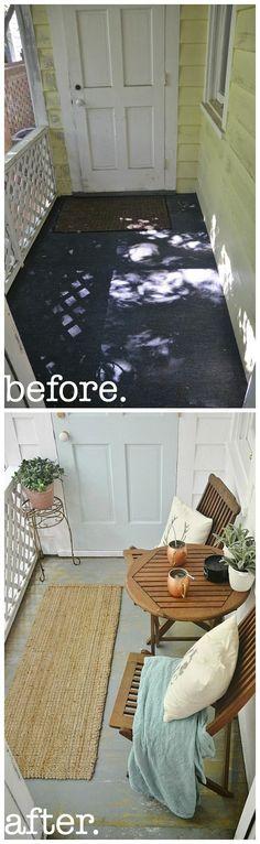 sunroom makeover - painted floors & sunroom makeover on a budget!