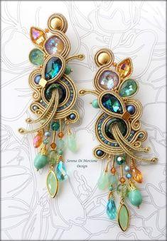 Tatting Earrings, Soutache Necklace, Ring Earrings, Fabric Jewelry, Boho Jewelry, Beaded Jewelry, Jewelry Design, Shibori, Polymer Clay Charms