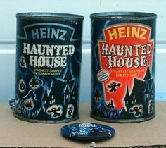 """Heinz Haunted House is a horror-themed shaped tinned pasta, """"spaghetti shapes in tomato sauce"""", launched by the Heinz company in soon after their sci-fi themed Heinz Invaders. Retro Recipes, Vintage Recipes, Retro Halloween, Halloween Costumes, Pasta Shapes, Vintage Packaging, My Childhood Memories, Coffee Cans"""
