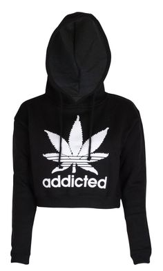Womens Addicted Crop Top Hoodie: Amazon.co.uk: Clothing
