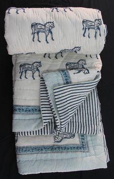 Hand Block Printed Jaipuri Razai Solid White Cotton Print hand Filling Quilt KH4 #KhushiHandicraft #ArtDecoStyle