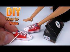 DIY Miniature paper Converse Chuck Taylor All Star running shoes aka sneakers an Kelci Leigh Barbie Dolls Diy, Diy Barbie Clothes, Barbie Shoes, Barbie Clothes Patterns, Barbie Doll House, Doll Shoes, Clothing Patterns, Diy Converse, Converse Sneakers