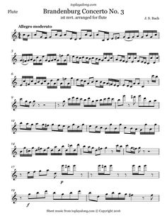 Brandenburg Concerto No. 3 (mvt. 1) by J. S. Bach. Free sheet music for flute. Visit toplayalong.com and get access to hundreds of scores for flute with backing tracks to playalong.