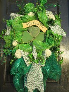 St. Patrick's Day Wreath St. Patrick's Mesh Wreath
