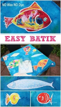 EASY to make Batik - NO Wax or Dye needed! Perfect for Kids Art Projects! Make great gifts!maybe work into an animal study? Projects For Kids, Kids Crafts, Arts And Crafts, Fabric Painting, Fabric Art, Classe D'art, Indonesian Art, Batik Art, Thinking Day