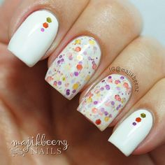 """Nails -  """"You Autumn Know"""" by KB Shimmer on my middle and index fingers. I used glitters from the polish to place over OPI """"Alpine Snow"""" for a little accent. --- Instagram @majikbeenz"""