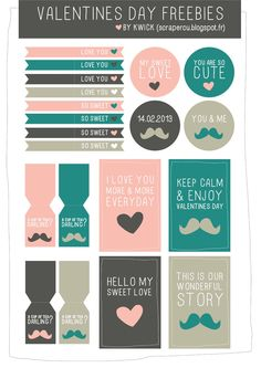 Valentine's day freebies - cut tags and labels Valentine's Day Printables, Printable Labels, Freebies Printable, Project Life Freebies, Heart Day, Web Design, Free Prints, Grafik Design, Smash Book