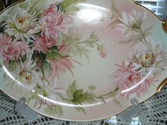 Limoges Charger Tray with Chrysanthemums E Miler inspired