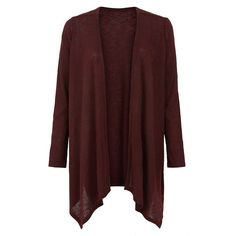 Burgundy Fine Knit Ribbed Waterfall Cardigan (310.180 IDR) ❤ liked on Polyvore featuring tops, cardigans, burgundy, long sleeve tops, red cardigan, burgundy top, burgundy cardigan et waterfall cardigan